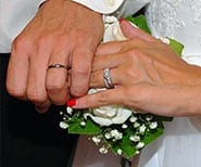 the hands of a wedding couple