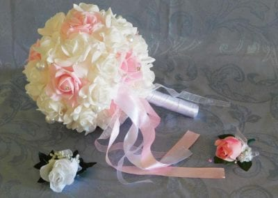 Pink and white silk flower bouquet