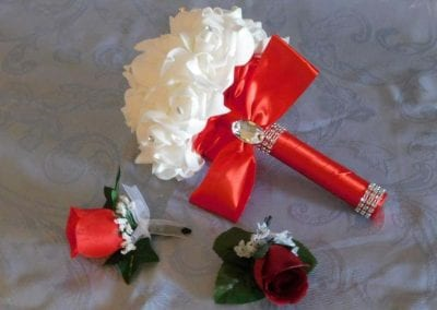 White Bouquet with Red Ribbon