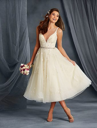 Short hemlines and deep necklines wedding dress