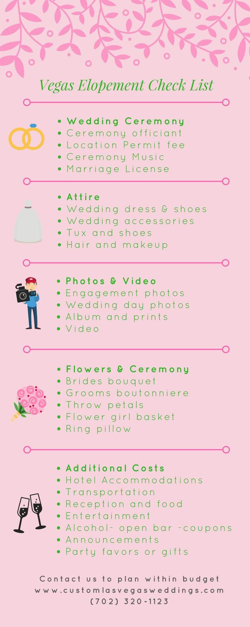 vegas wedding budget checklist event planning