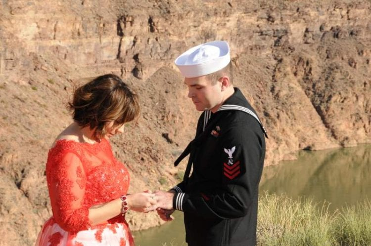 Couple sharing wedding vows at the Grand Canyon