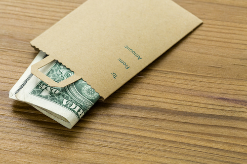 Gratuity in envelope