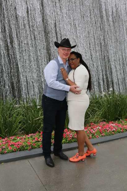 Wedding couple at Aria waterfall fountain in Las Vegas