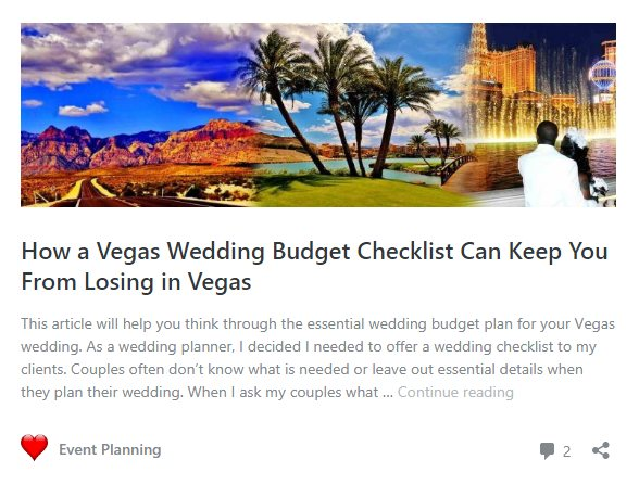 Wedding budget planning blog article
