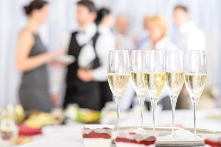 vegas wedding reception champagne glasses
